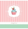 Vintage greeting card template with cupcake vector image