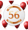 Golden number fifty six years anniversary vector image