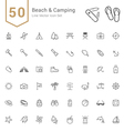 Camping and Beach Line Icon Set vector image