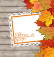 Autumn card with leaves maple wooden texture vector image vector image