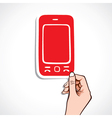 red mobile sticker on hand vector image