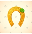 Lucky horse shoe as symbol for Saint Patricks Day vector image
