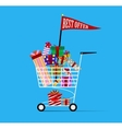 Shopping cart full of shopping bags vector image
