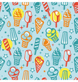 seamless pattern with cartoon ice cream vector image