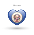Love Minnesota state symbol Heart flag icon vector image