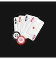 Four Aces And Casino Chip Game Of Poker vector image