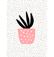 Pink Pot with Succulent Plant vector image