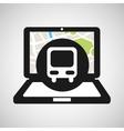 train laptop map gps vector image