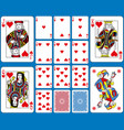 hearts suite playing cards french style vector image