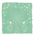 Christmas card with snowflakes and birds vector