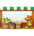An empty template with a bear selling fruits vector image