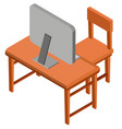 3d design for desk with computer on top vector image