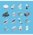 Home security Isometric Icons Set vector image
