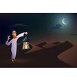 Arabic man keeps lantern vector image