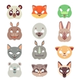 Carnival animals face masks in flat style vector image