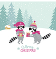 two cute raccoons with a gifts vector image