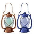 Vintage portable oil lamp in two colors vector image