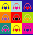 headphones with heart pop-art style vector image