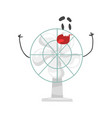 funny electric fan character with smiling face vector image