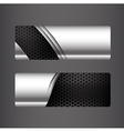 Collection of banner set metallic steel and vector image