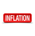 Inflation red 3d square button on white background vector image