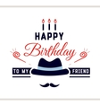 Happy Birthday Label With Hat vector image