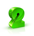 glossy green two 2 number 3d on vector image