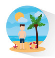 man standing beach with umbrella lifebuoy sea vector image