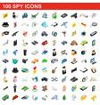 100 spy icons set isometric 3d style vector image