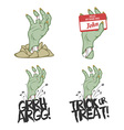 Funny Halloween zombie hand design elements vector image