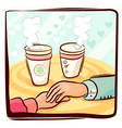 Couple hand and coffee vector image