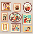 big family smiling photo portraits in frames on vector image