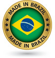 Made in Brazil gold label vector image