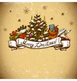 New Year Greeting Card with Christmas tree vector image