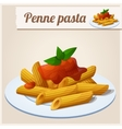 Penne pasta with tomato sauce vector image