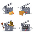 set of movie clapper character with envelope box vector image