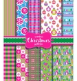 Set of Christmas seamless backgrounds vector image vector image