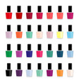 set of colored nail polishes vector image