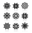 Christmas winter snowflakes icons set vector image vector image