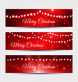 Christmas light garlands banners set vector image