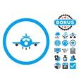 Aircraft Flat Icon with Bonus vector image