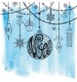 ChristmasNoe cardLettering ball garlands vector image