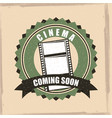 cinema coming soon badge banner retro vintage vector image