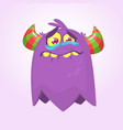 cute cartoon monster with horns vector image
