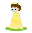 cute kawaii fairy tale princess in yellow dress vector image