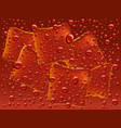 dark red water with drops and ice cubes background vector image