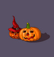 halloween pumpkins with witch hat vector image