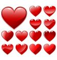 set of beautiful hearts vector image