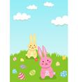 Easter Rabbit in Garden Greeting Card vector image