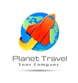Globe with airplane logo template business vector image